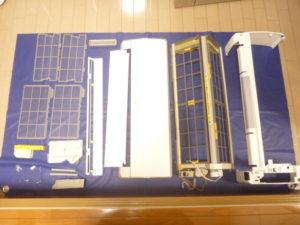 東京都大田区萩中、日立RAS-S28Zお掃除機能付きエアコン分解パーツ類洗浄後