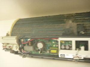神奈川県横浜市港北区、ダイキンAN71LHP熱交換器洗浄前
